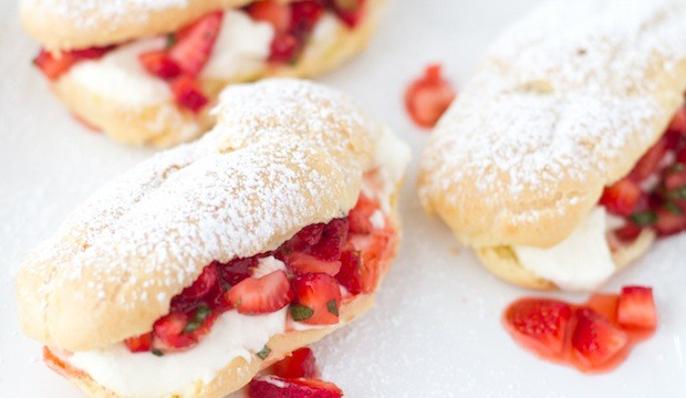 homemade strawberry eclairs