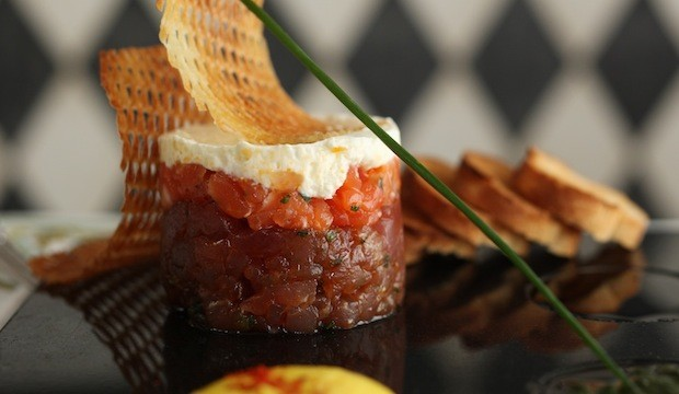 salmon and tuna sashimi tartar
