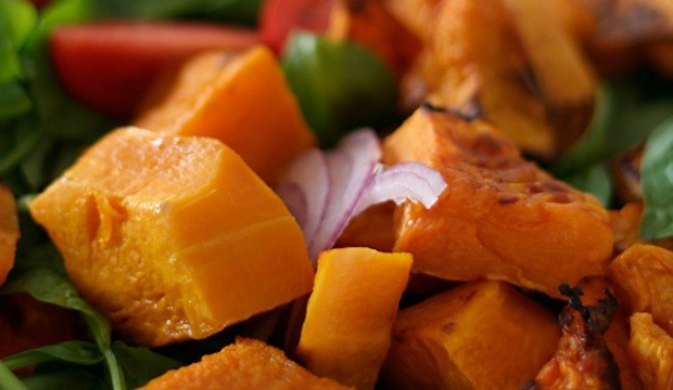 roasted pumpkin and acorn squash salad