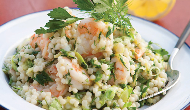 israeli couscous salad with shrimp