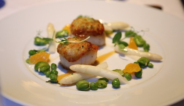 pea-glazed-maine-scallops-on-white-asparagus-puree-orange-beurre-blanc-and-spring-vegetables