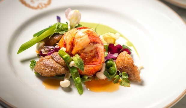 poached lobster with spring peas