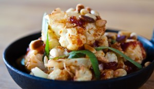 Roasted Cauliflower with Peperonata, Mint & Pine Nuts