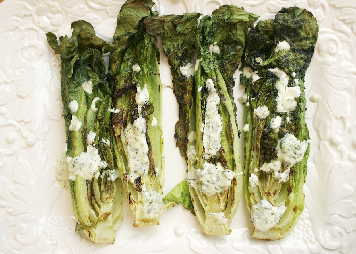 grilled-hearts-of-romaine-with-yogurt-dill-dressing