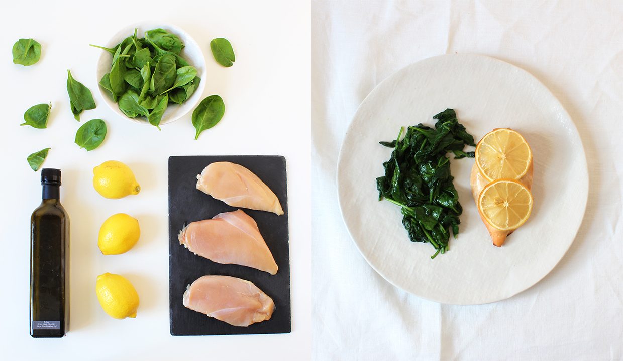 baked-lemon-chicken-with-sauteed-spinach