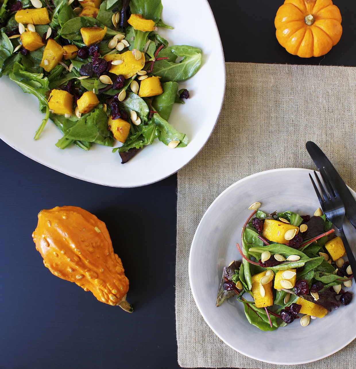 roasted-pumpkin-with-mixed-greens-salad