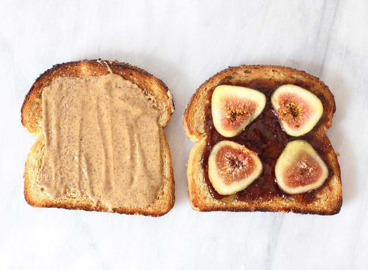 fig and almond butter sandwich
