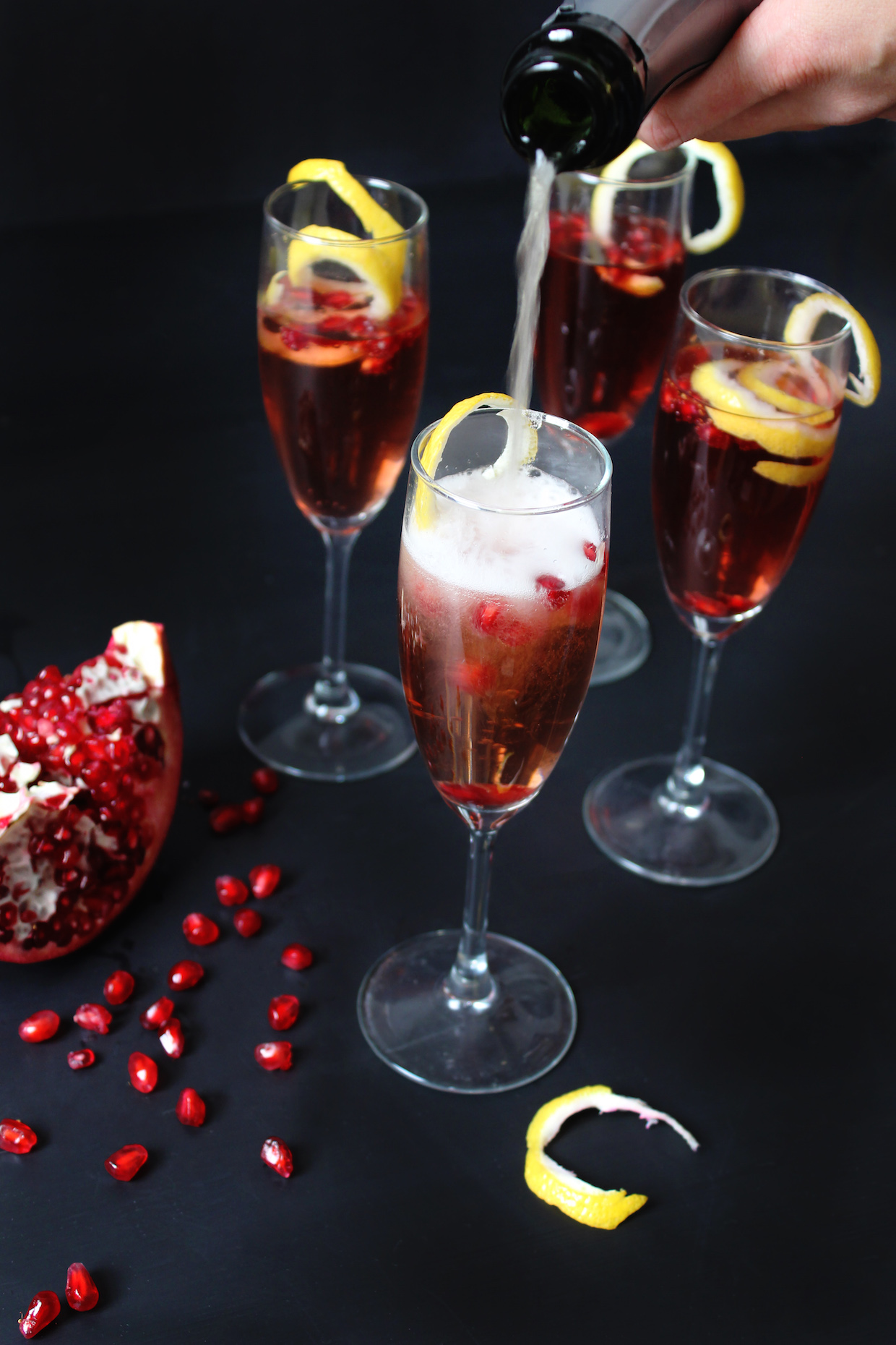 holiday cocktail champagne and juice