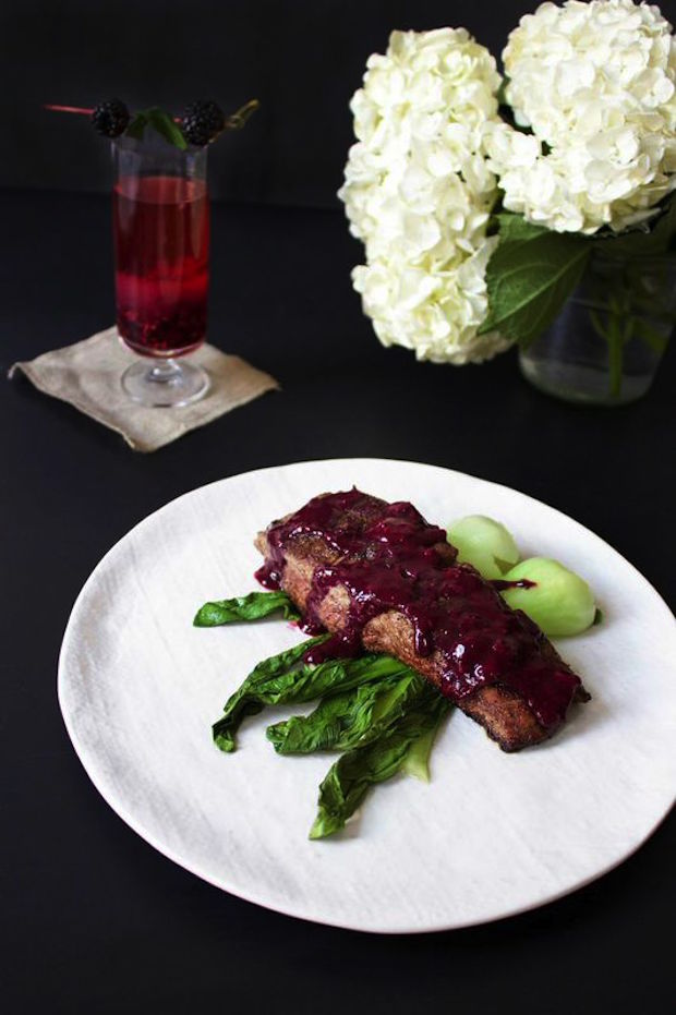 pan-seared-flank-steak-with-blueberry-sauce-and-bok-choy