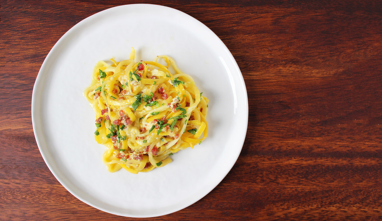 yellow-squash-carbonara