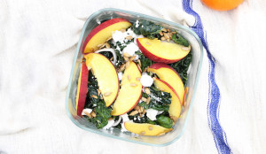 Peach, Kale, and Goat Cheese Salad
