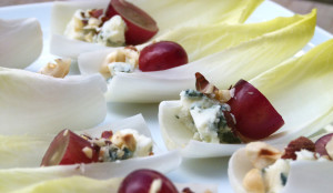 Endive Leaves with Grapes, Hazelnuts and Roquefort