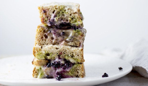 Grilled Cheese with Pesto & Blackberries on Sourdough Toast