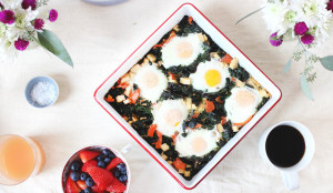Baked Eggs with Smoked Salmon, Swiss Chard, and Gouda