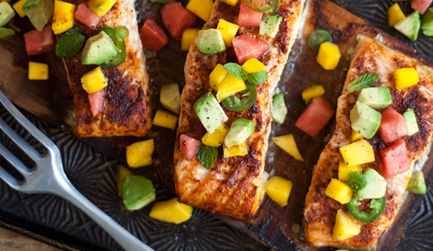 Planked Salmon with Mango and Watermelon Salsa
