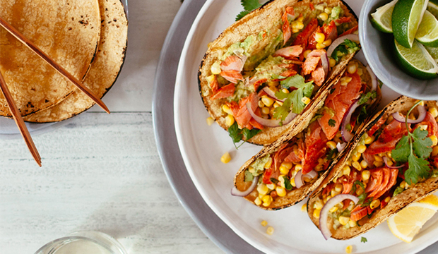 Grilled Salmon Tacos with Corn Salsa
