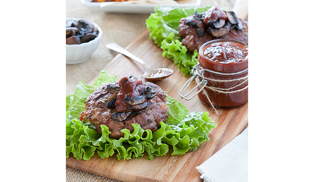 Barbecue Bacon Burgers with Rosemary-Garlic Mushrooms: From Danielle Walker