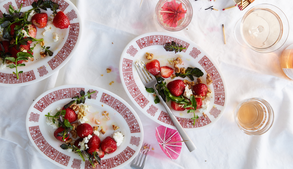 Macerated Strawberries with Goat Cheese, Walnuts and Watercress: From Chef Kevin O'Connor