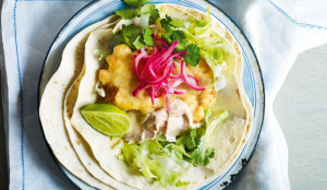 Fish Tacos with Chipotle Yogurt and Pickled Red Onions - Get the Recipe!